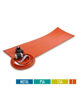 BriskHeat Silicone RUBBER HEATING BLANKETS WITH CONTROLLER - CSA APPROVED; FOR METAL - WITH PSA - CELSIUS