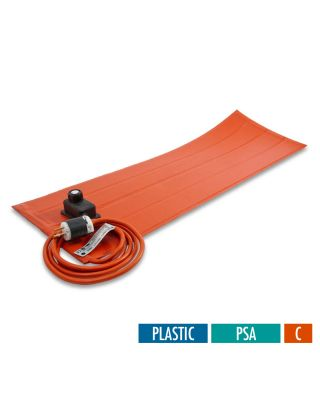 BriskHeat Silicone Rubber Heating Blankets with Controller for Plastic - with PSA - Celsius