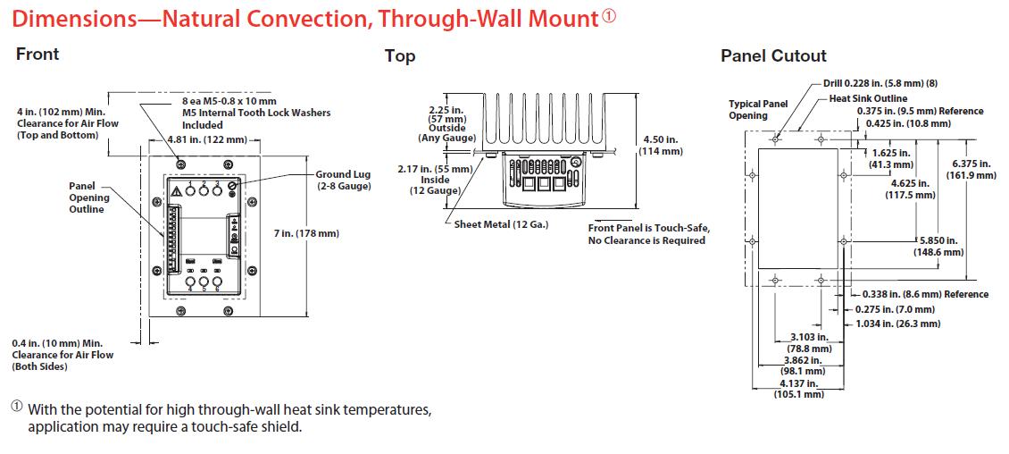 Dimensions& Natural Convection, DIN-rail/Panel Mount