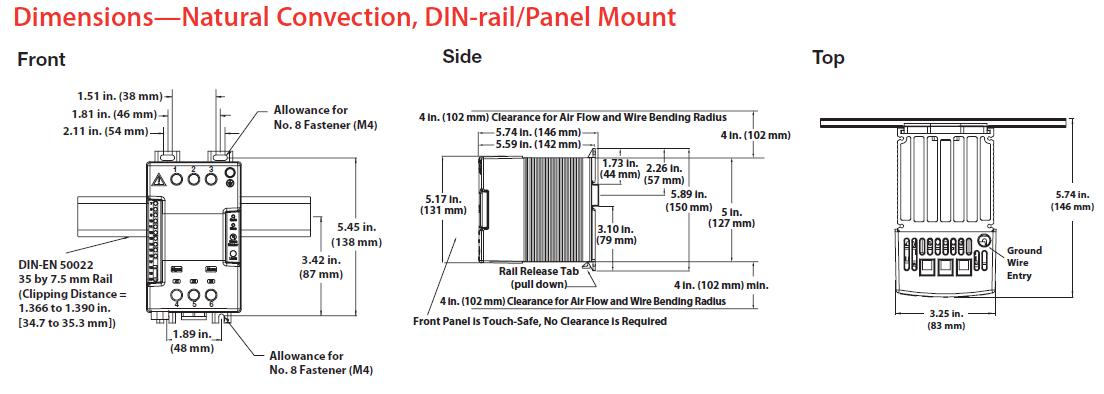Dimensions—Natural Convection, DIN-rail/Panel Mount